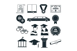 Students graduation party in monochrome style. Black vector icons set