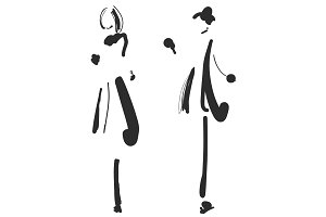 Fashion models silhouettes sketch hand drawn , vector illustration. Cartoon girl