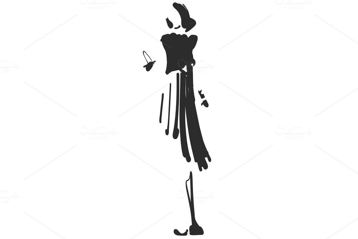 Fashion models silhouettes sketch hand drawn , vector illustration. Cartoon girl
