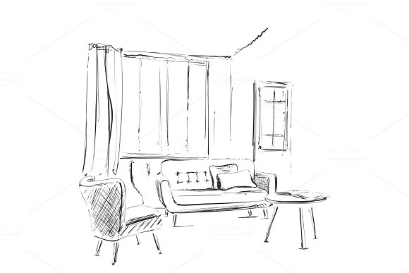 Living room graphic black white interior sketch illustration. Furniture