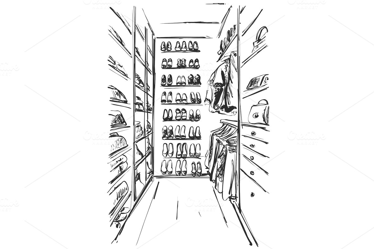 Hand drawn wardrobe sketch. Furniture. Dress, handbag and shoes. clothes. Dressing room in Illustrations - product preview 8