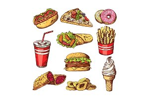 Fast food pictures. Burgers, cola sandwich hotdog and french fries. Hand drawn color vector illustrations