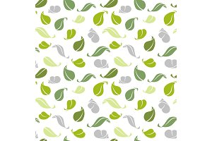 Decorative seamless pattern. Green leaves. Vector illustration