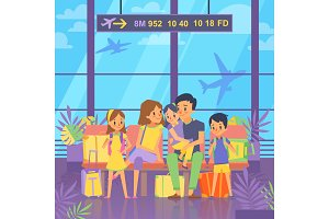 People goes to vacation. Sitting in airport terminal. Happy family couple with kids and baggage. Vector illustration