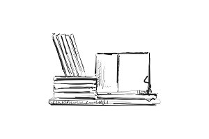 Bookshelves sketch. Hand drawn interior elements