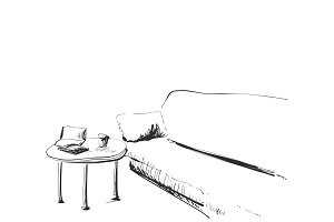 Modern interior room sketch. Hand drawn sofa and Table