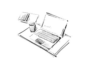 Workplace with laptop, notebook, tablet and cup of coffee vector drawn illustration