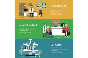 Three horizontal vector banners of healthcare concept pictures. Medical rooms and offices in hospital. Patients and doctors