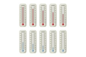 Thermometers with different temperature on them. Vector illustrations set