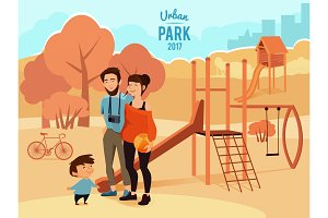 People relax and walking in urban park. Vector illustration