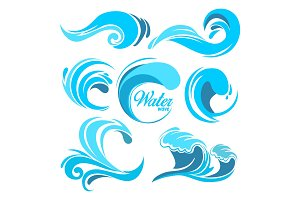 Water splashes and ocean waves. Vector graphic symbols for logo design