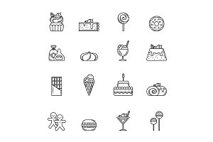 Desert vector icon set. Cupcake, sweets and other baking foods. Outline illustrations isolate on white background