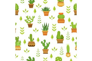 Desert plants with flowers. Cactus in pots. Vector seamless pattern