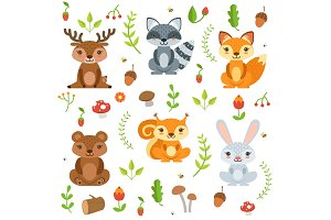 Funny forest animals and floral elements isolate on white background. Vector illustration in cartoon style