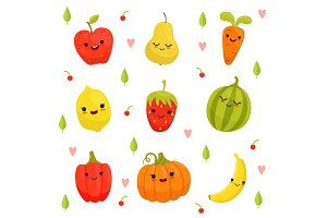 Vector mascot design of cartoon fruits and vegetables