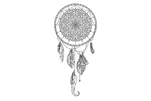 Hand drawn dreamcatcher with feather of birds. Vector illustration