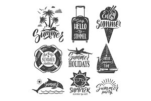 Text logo for summer party. Hand drown letters and design elements. Vector ilustrations set