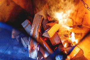 Firewood burn in the fireplace