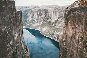 Kjerag mountains rocks over fjord
