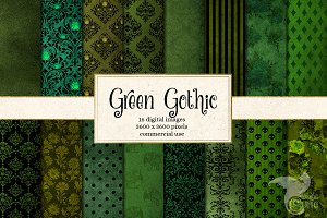 Green Gothic Digital Paper