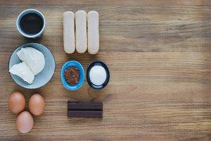 Ingredients for pastry, tiramisu.
