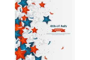4th of July - Independence day of America. American holiday background. 3d stars in national colors with serpentine and confetti., vector illustration.