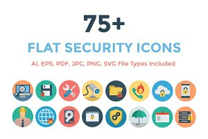 75+ Flat Security Icons