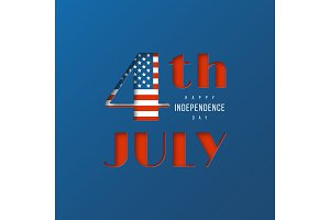 4th of July - Independence day of America. 3d paper cut style typographic design in national american flag colors, vector illustration.