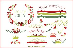 Holiday Floral Clipart Vector