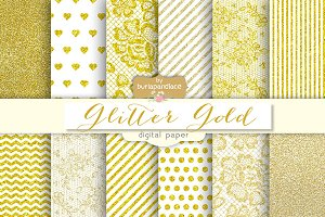 Glitter gold digital papers