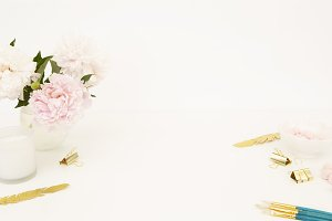 Styled stock photo - peonies desktop