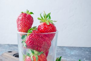 strawberry on grey background