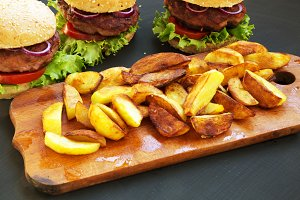 Fresh homemade burgers with fried