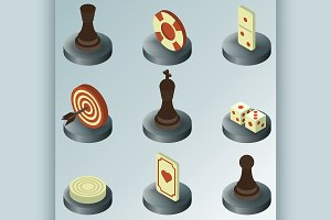 Board game color isometric icons