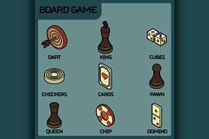 Board game color outline isometric