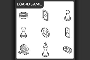 Board game outline isometric icons