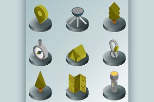 Camp color isometric icons