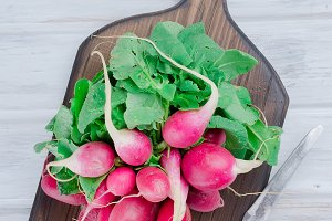 bunch of radishes with leaves