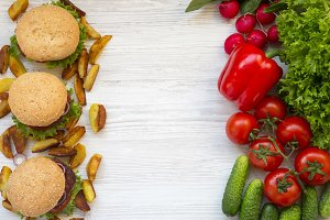 Choice between healthy food and fast