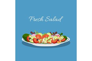Fresh vegetable and green leaf salad dish