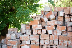 Stack of the red bricks