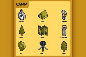 Camp color outline isometric icons