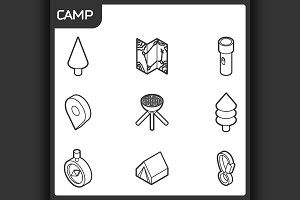 Camp outline isometric icons