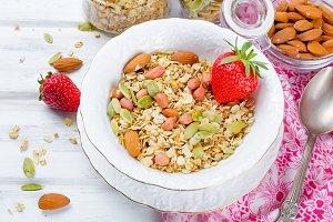 Homemade  granola with strawberries