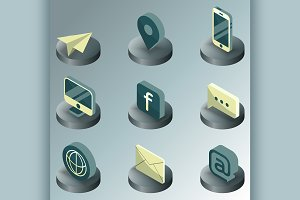 Contact us color isometric icons