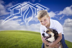 Boy With His Dog in Front of House