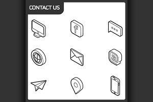 Contact us outline isometric icons
