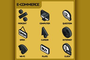 E-commerce color outline isometric