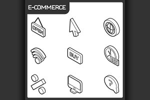 E-commerce outline isometric icons