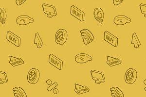 E-commerce outline isometric pattern
